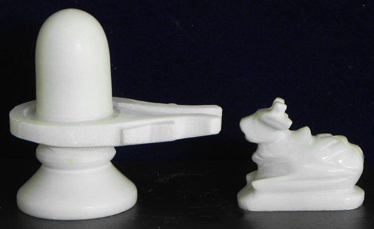 White Shiva Linga With Nandi
