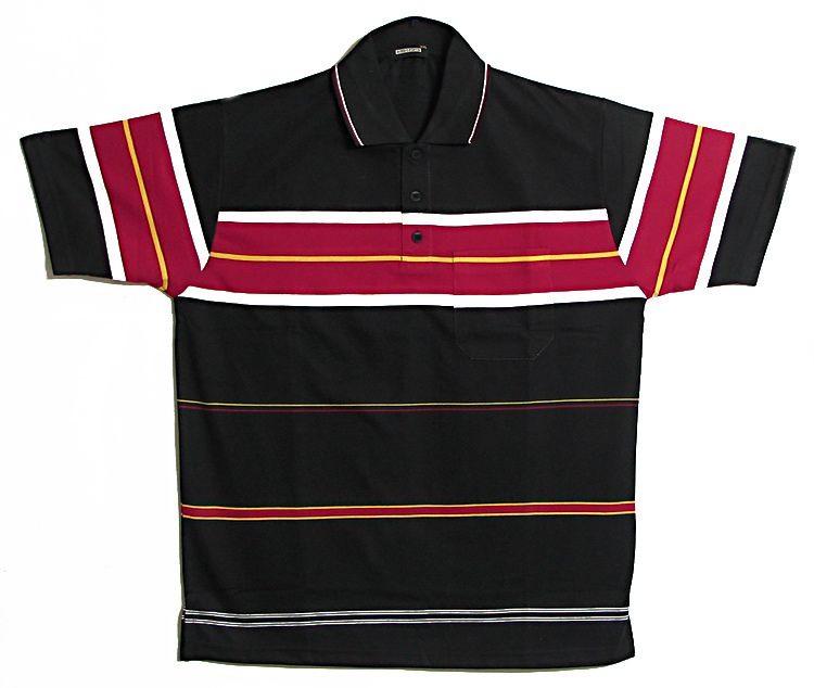 Black With Red Yellow And White Stripe Polo T Shirt