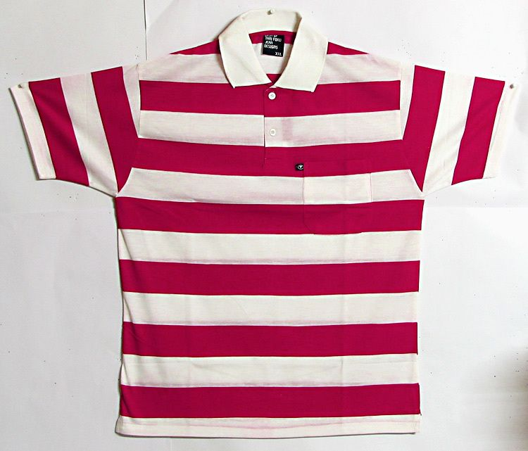 Red and white stripe polo t shirt for Red white striped polo shirt