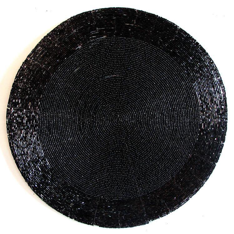 Plain Black Beaded Round Centre Table Mat