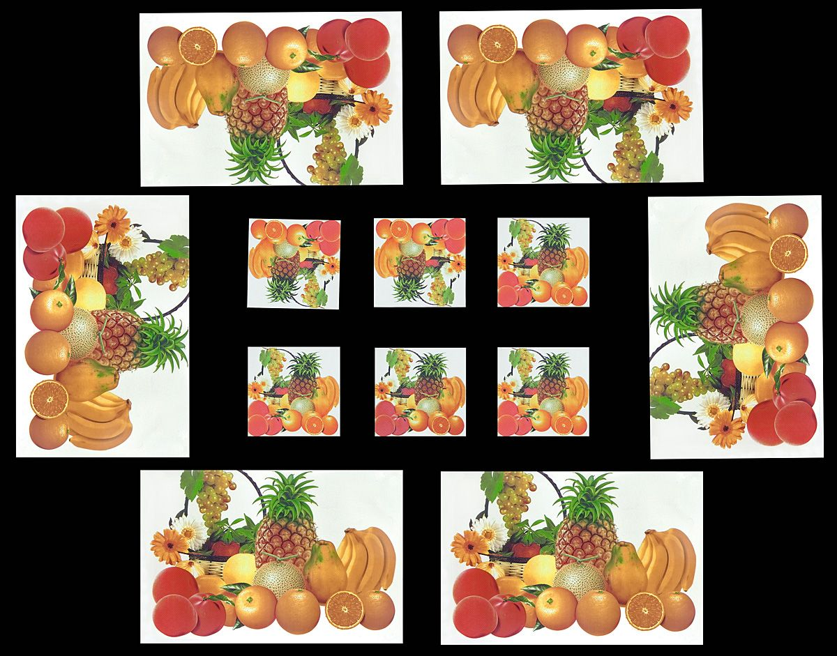 Set Of Six Dining Table Mats And Coasters With Fruit Print Hover To Zoom