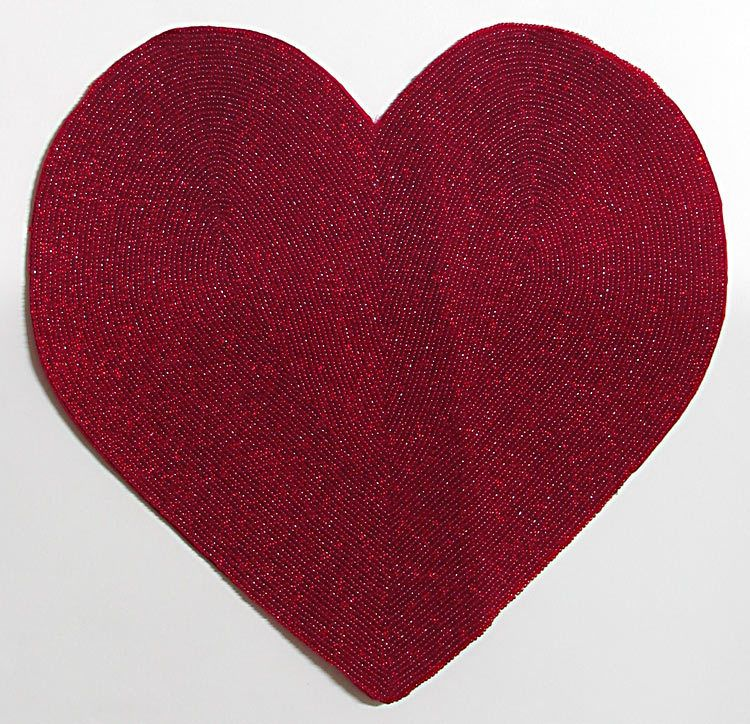 red beaded plain heart shaped centre table mat rh dollsofindia com plain heart jewelry plain heart emoji