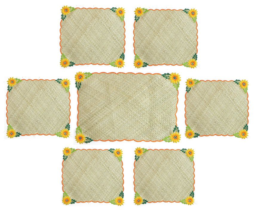 Hand Weaved Palm Leaf Dining Table Mats with Embroidery : table mat EA26l from www.dollsofindia.com size 854 x 704 jpeg 95kB