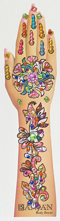 One Piece Hand Tattoo: One Piece Multicolor Stone Studded And Glitter Hand Tattoo