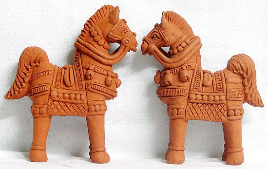 Pair Of Horses Terracotta Statues