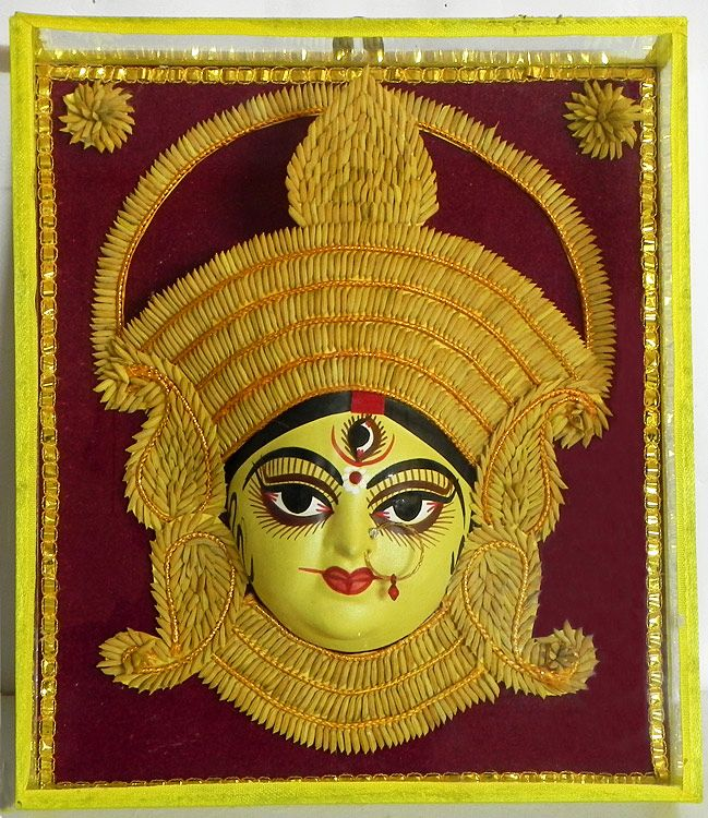 Face of Durga Decorated with Paddy Crown- Wall Hanging