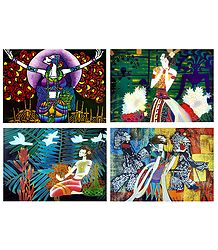 Set of 4 Multicolor Abstract Posters