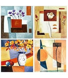 Set of 4 Abstract and Flower Posters