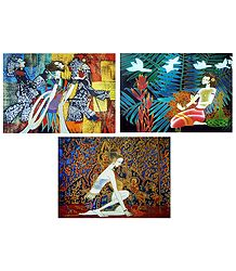 Set of 3 Multicolor Abstract Posters