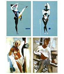 Set of 4 Abstract Posters