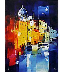 Cityscape Painting Reprint