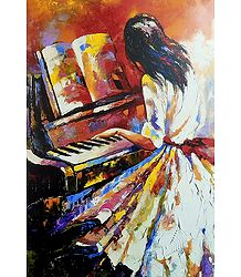Shop Online Lady Playing Piano Poster