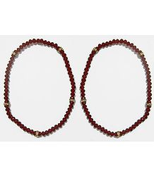 Pair of Maroon Crystal Bead Stretchable Anklet