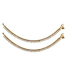 Pair of White Stone Studded Metal Golden Anklet