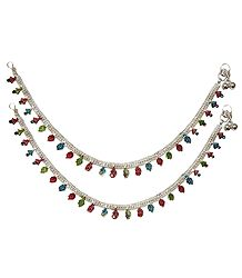 Pair of Stone Studded White Metal Anklet