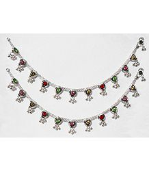 Pair of Multicolor Stone Studded White Metal Anklet