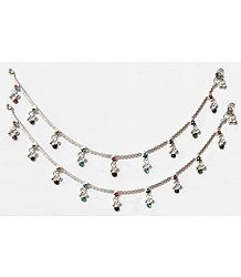 Pair of White Metal Anklet with Multicolor Beads