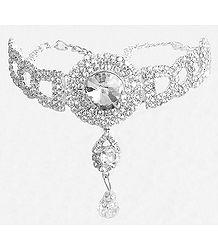 White Stone Studded Silver Polish Bajubandh (To wear on upper arm)