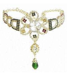 White and Green Stone Studded Gold Polish Bajubandh (To wear on upper arm)