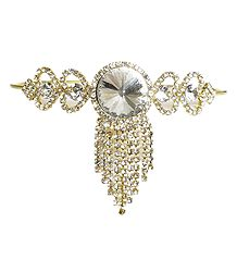 White Stone Studded Gold Polish Armlet (To Wear on Upper Arm)
