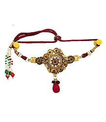 Stone Studded Adjustable Polki Armlet (To wear on upper arm)