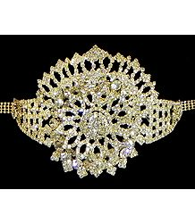 White Stone Studded Gold Polish Crown Armlet (To wear on upper arm)