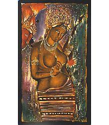 Ajanta Female Bodhisattva - Batik Painting