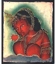 Ajanta Female Bodhisattva with Red Flower