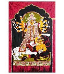 Goddess Durga - Buy Batik Painting on Cloth