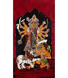 Mahishasuramardini Durga - Batik Painting on Cloth