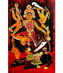 Mahishasuramardini Durga - Batik Painting on Cloth