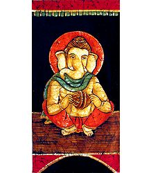 Ganesha Playing Cymbals - Batik Painting