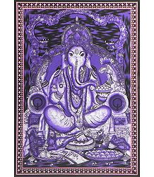 Ganesha Sitting on Throne - Batik Print