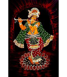 Murlidhara Krishna - Batik Painting on Cloth