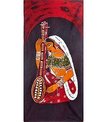 Woman Singer - Batik Painting on Cotton Cloth