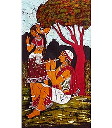 Santhal Couple - Batik Painting