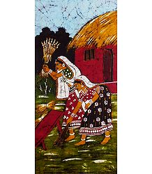 Batik Painting of Village Women at their Daily Chores