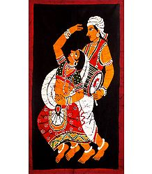 Dancers from Gujarat - Batik Painting