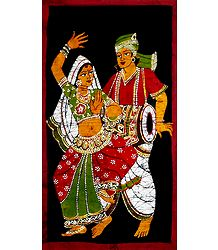 Hand Painted Batik Painting of Indian Folk Dancers