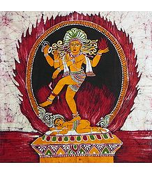 Lord Shiva as Nataraj - Batik Painting on Cloth