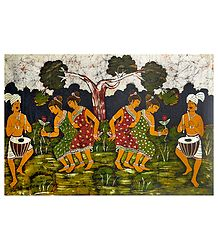 Santhal Folk Dancers - Batik Painting on Cloth