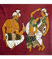 Gujrati Folk Dancers - Batik Painting on Fabric