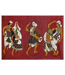 Folk Dancers - Batik Painting on Cloth