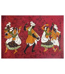 Tribal Folk Dancers - Batik Painting on Fabric