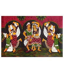 Rajasthani Folk Dancers - Batik Painting on Fabric