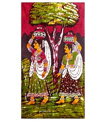 Village Women - Batik Wall Hanging