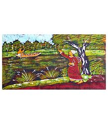 Baul Singer at a Riverside - Batik Wall Hanging