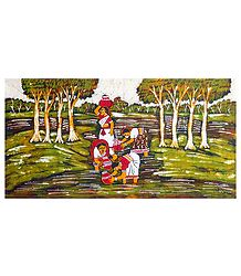 Rural Scene - Batik Wall Hanging