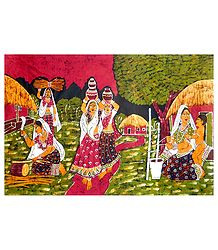 Village Women Doing Daily Chores - Batik Painting