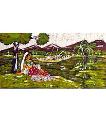 Woman Waiting Near River - Batik Painting